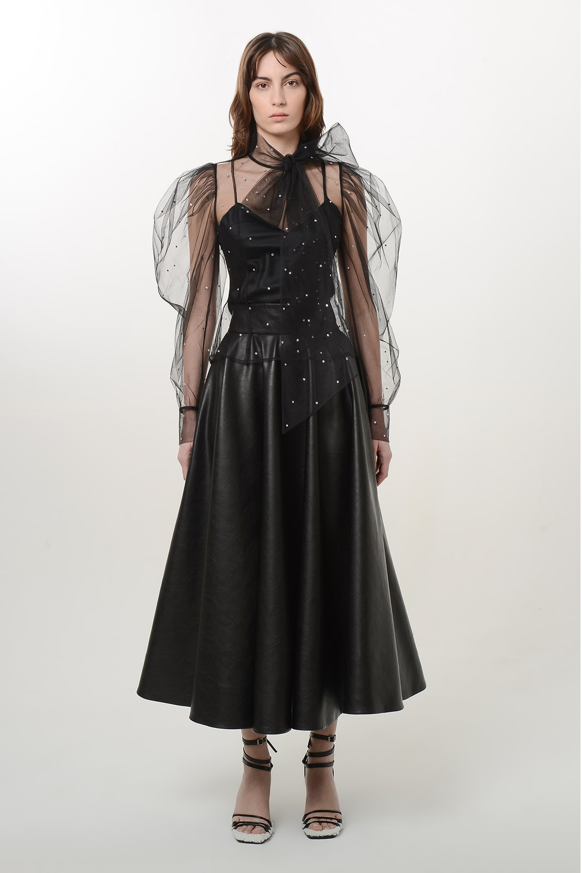 Bow tie tulle shirt with crystal drops
