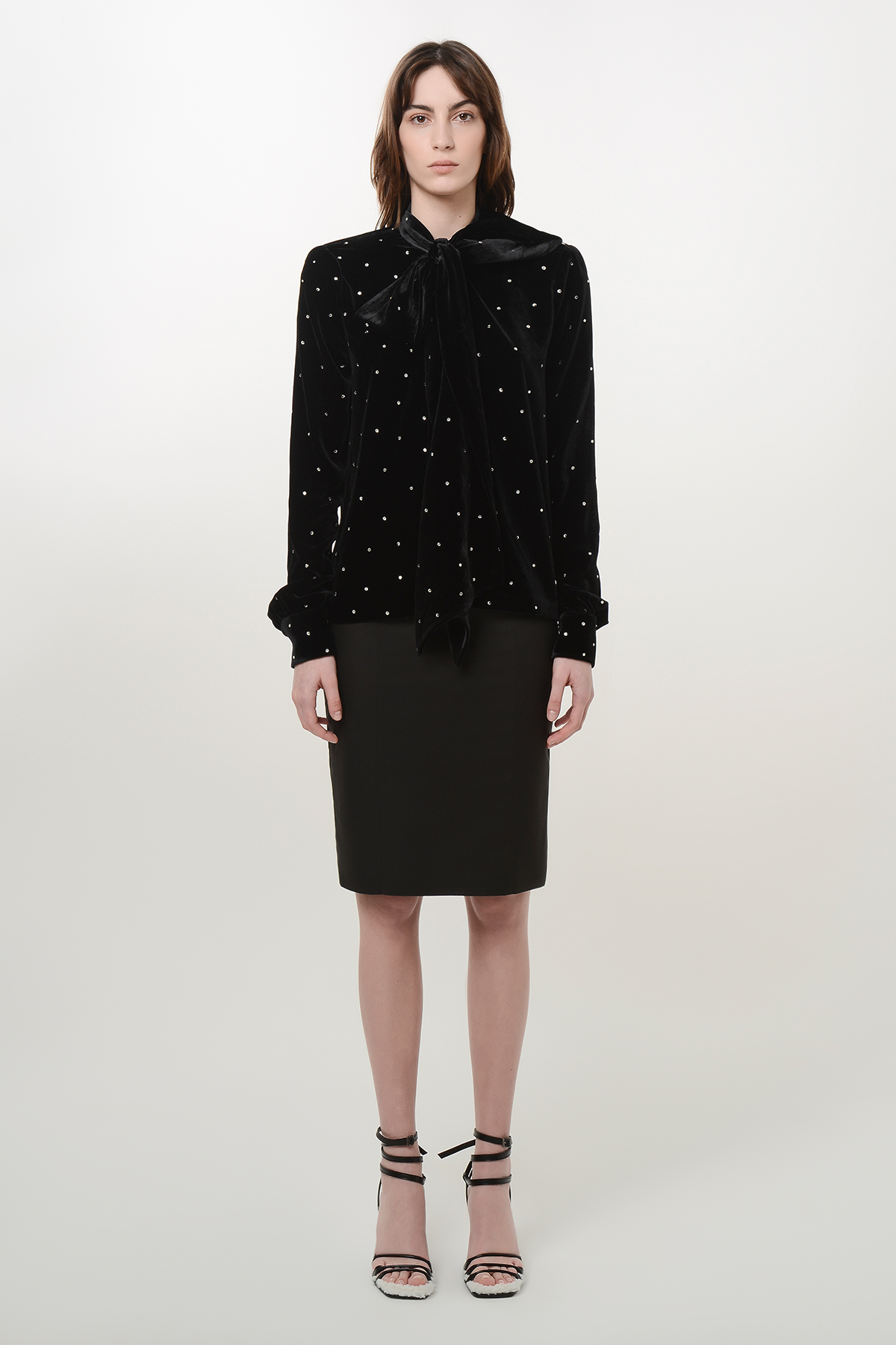 Bow tie velvet shirt with shoulder pads and crystal drops