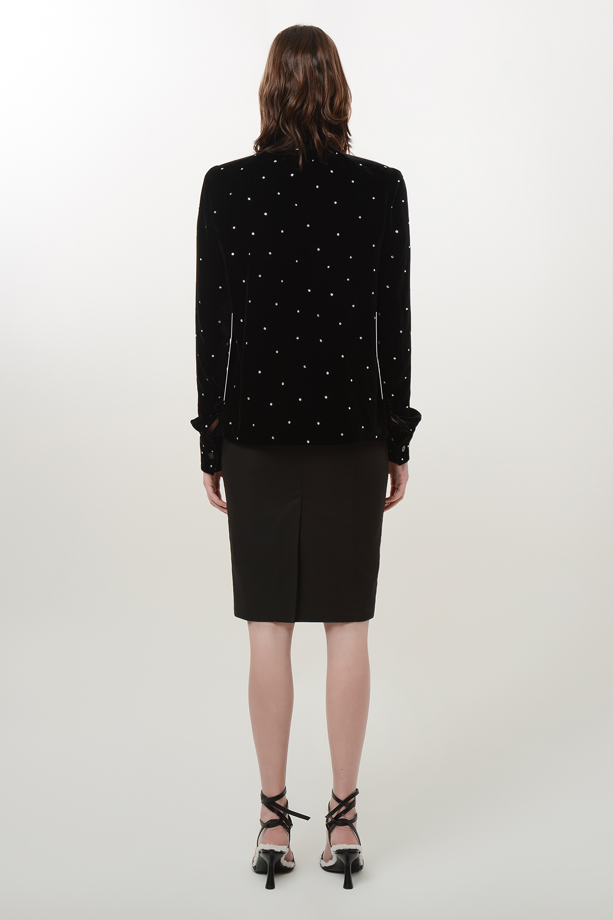 Bow tie velvet shirt with shoulder pads and crystal drops 2