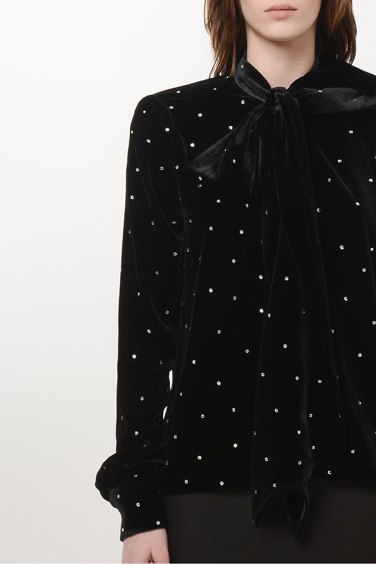 Bow tie velvet shirt with shoulder pads and crystal drops 3