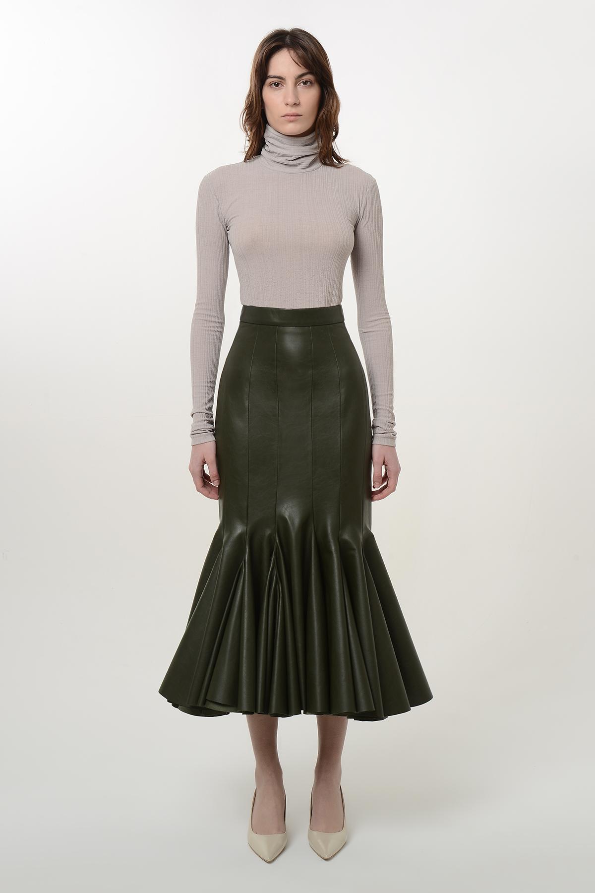 High waist vegan leather godet skirt 1
