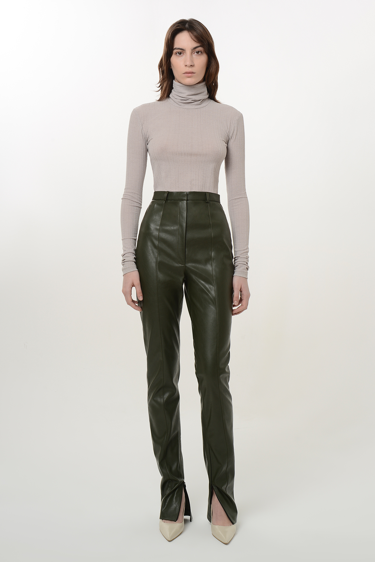 Straight vegan leather pants with zippers 1