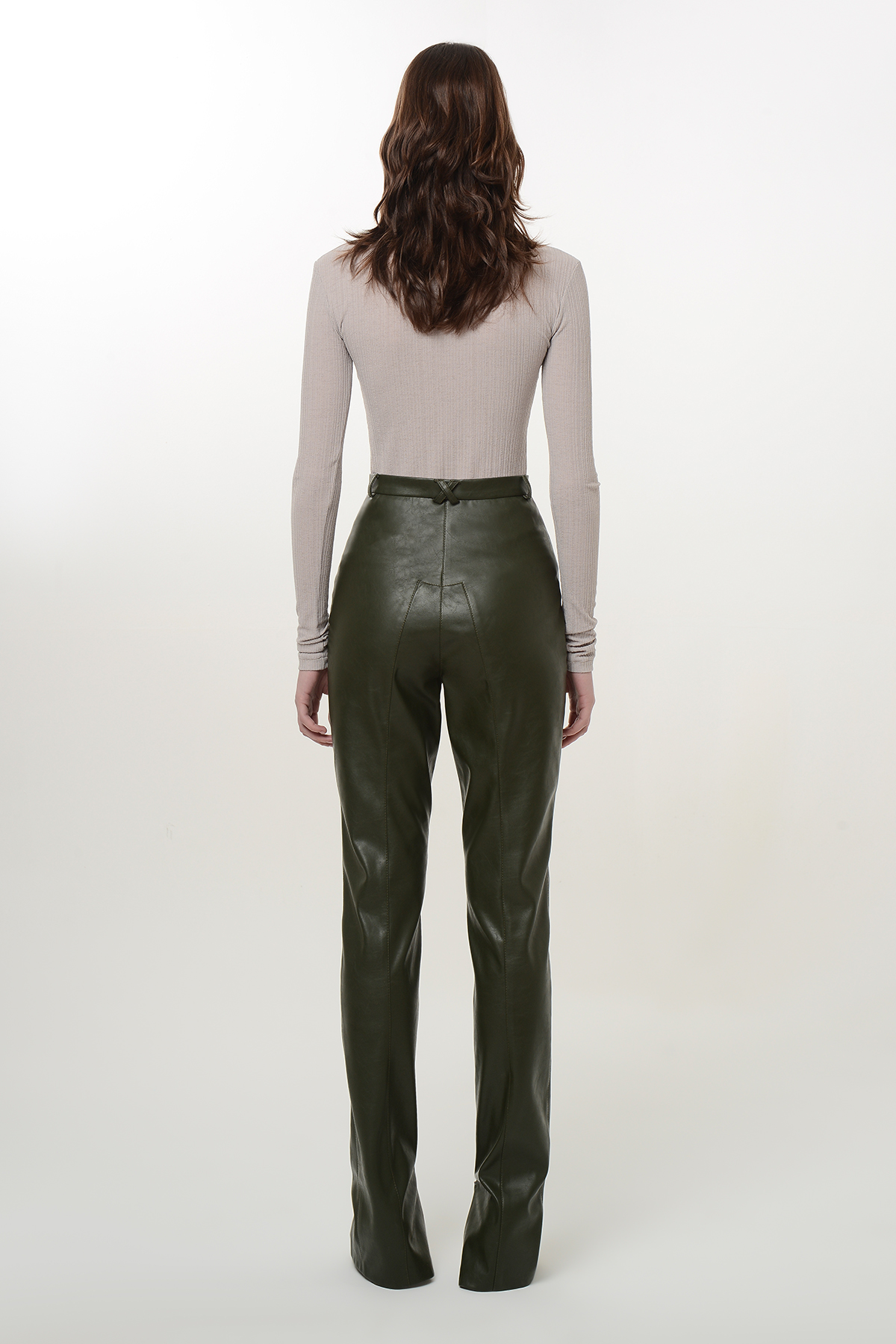 Straight vegan leather pants with zippers 2