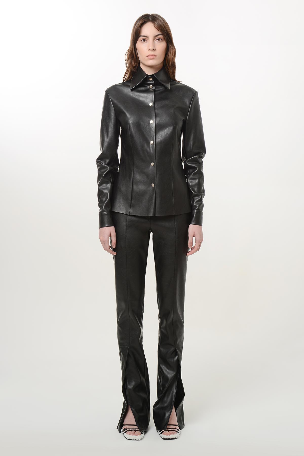 Slim waist vegan leather shirt 1