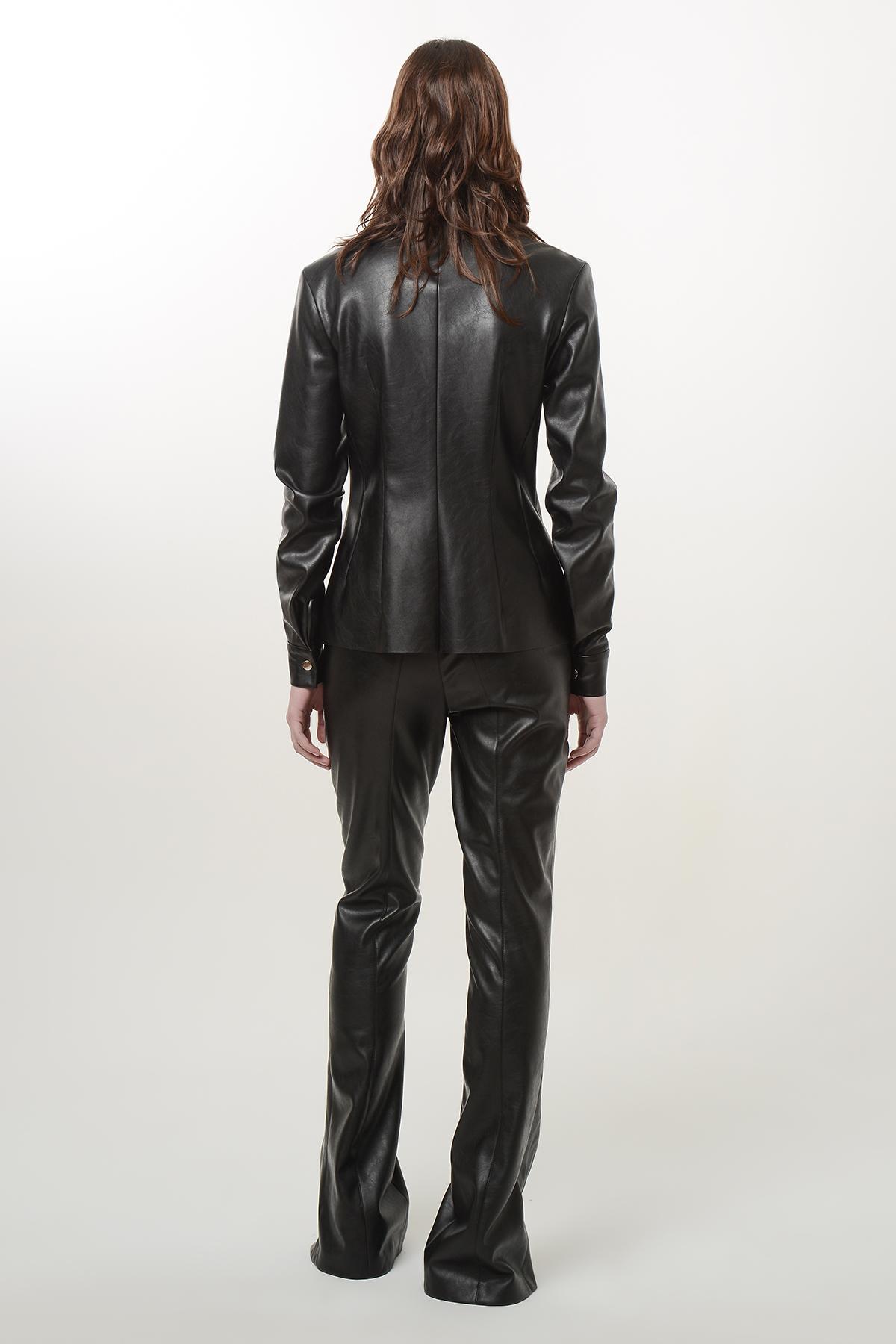 Slim waist vegan leather shirt 2