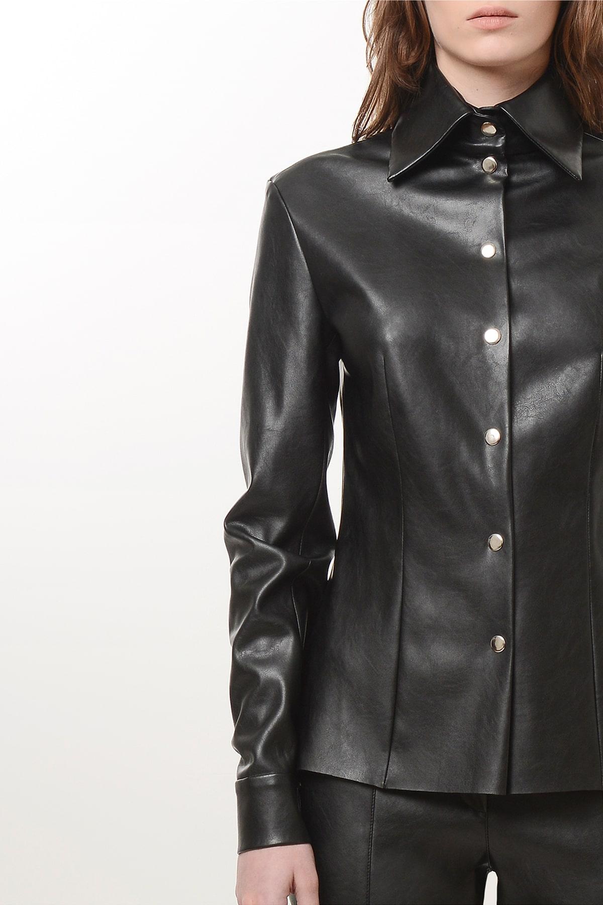 Slim waist vegan leather shirt 3