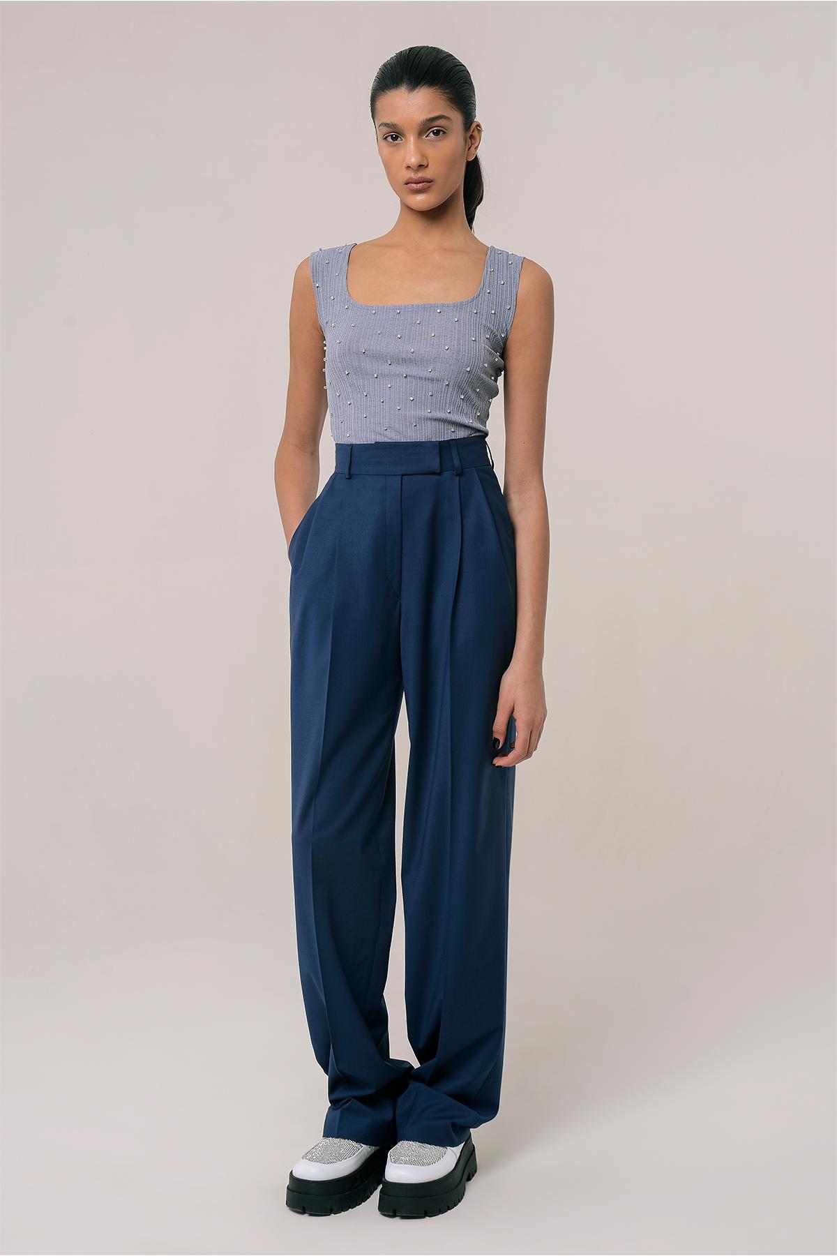 High waisted wool pants