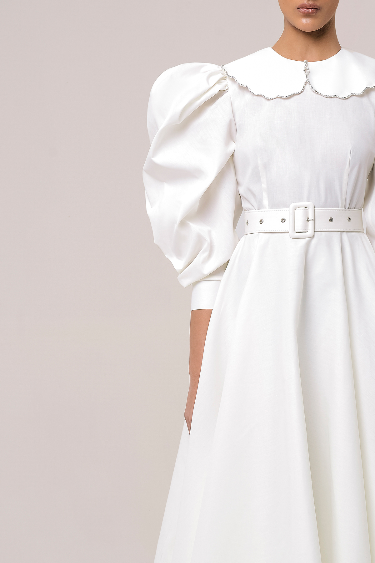 Puff sleeve shirt dress with  embroidered collar 3