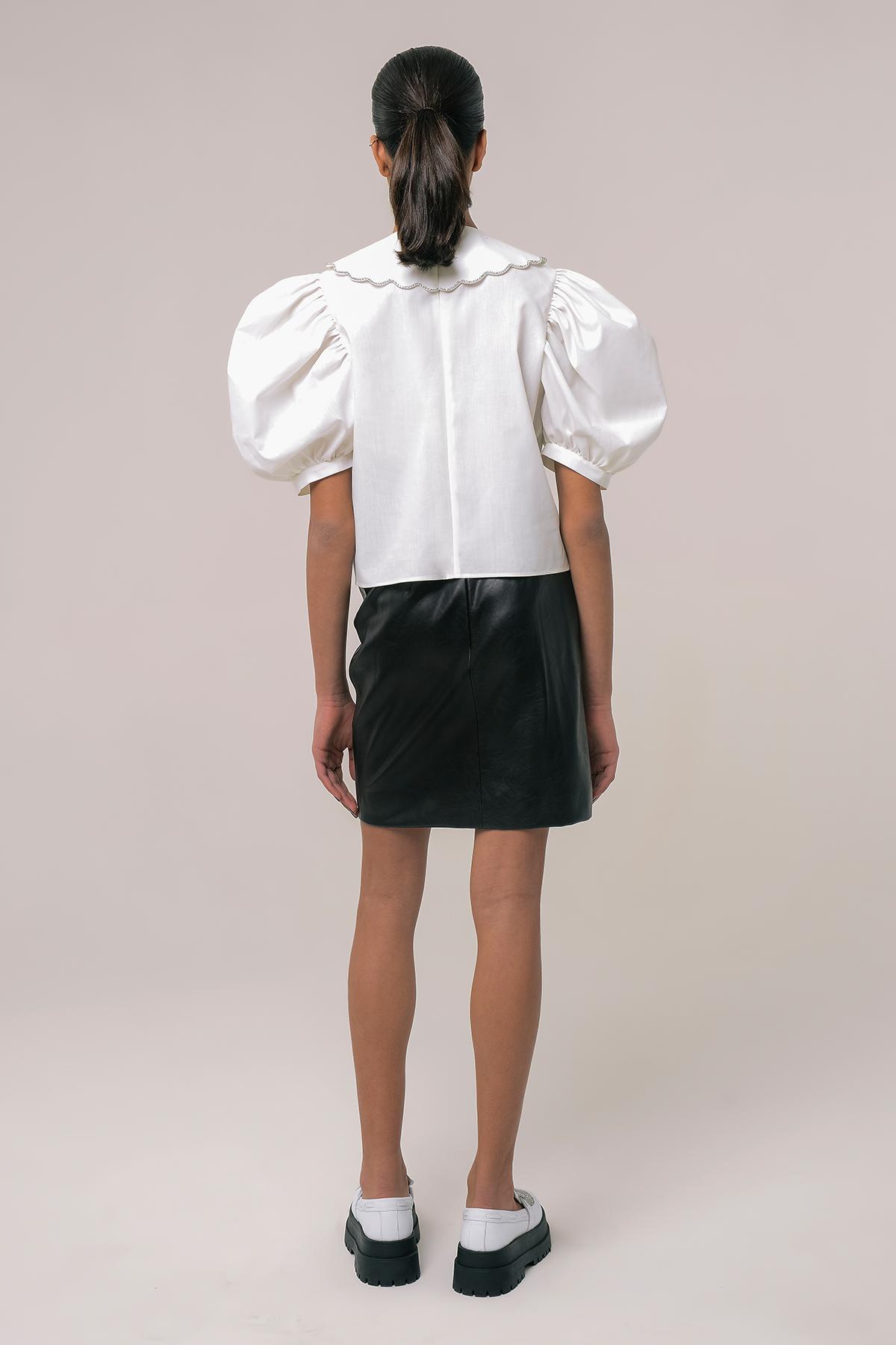 High waisted vegan leather mini skirt 2