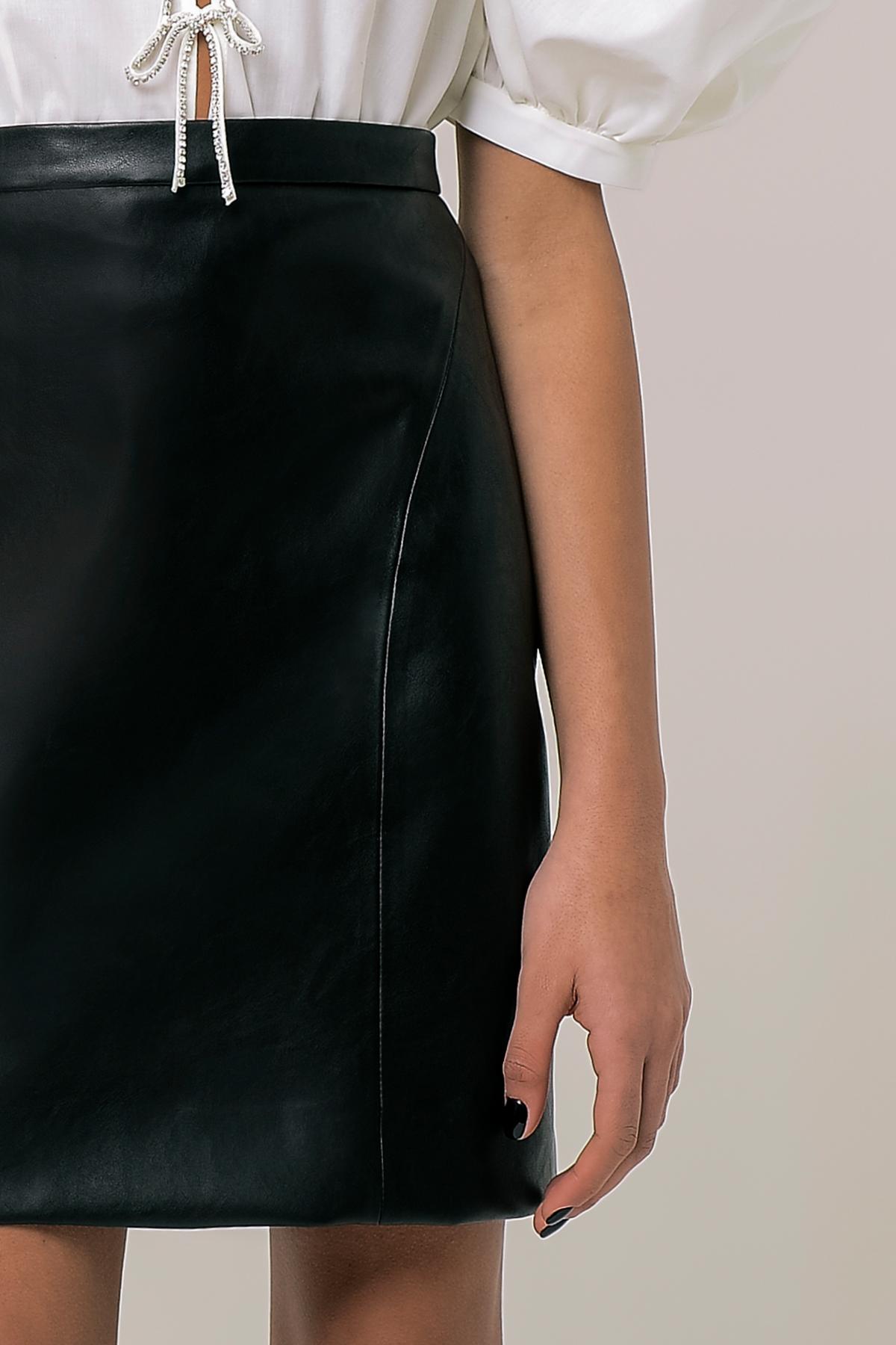 High waisted vegan leather mini skirt 3