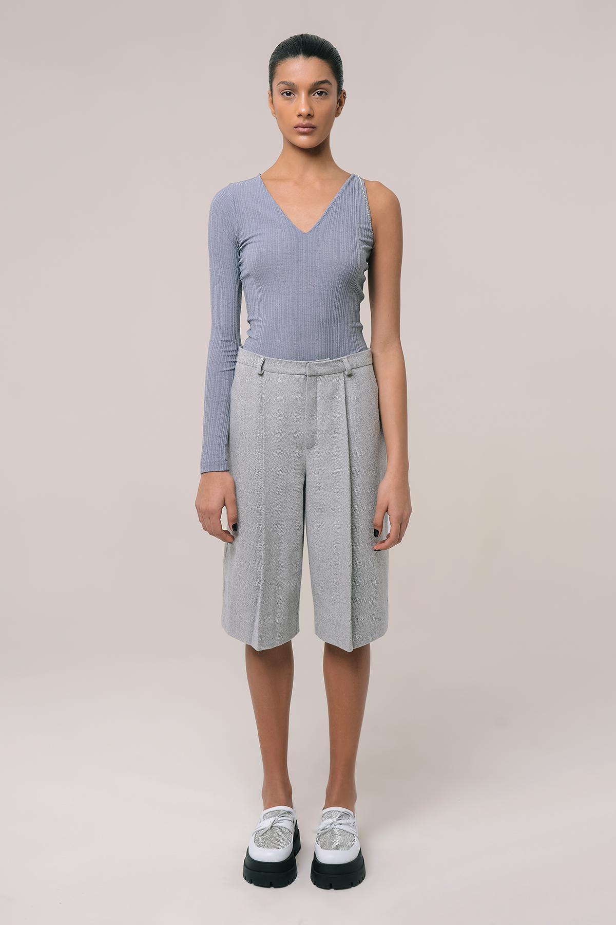 High waisted tweed shorts