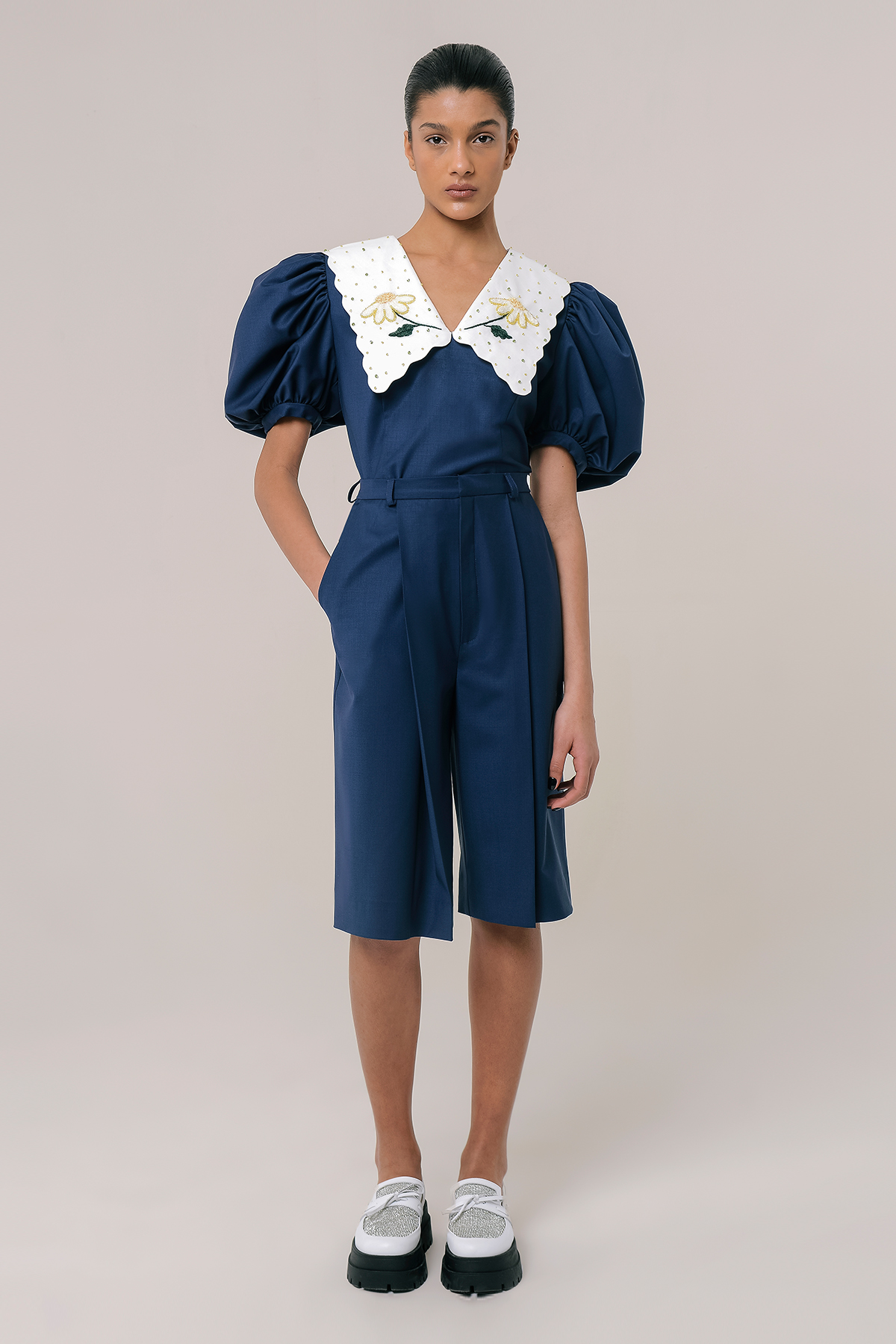 High waisted wool bermuda shorts 1