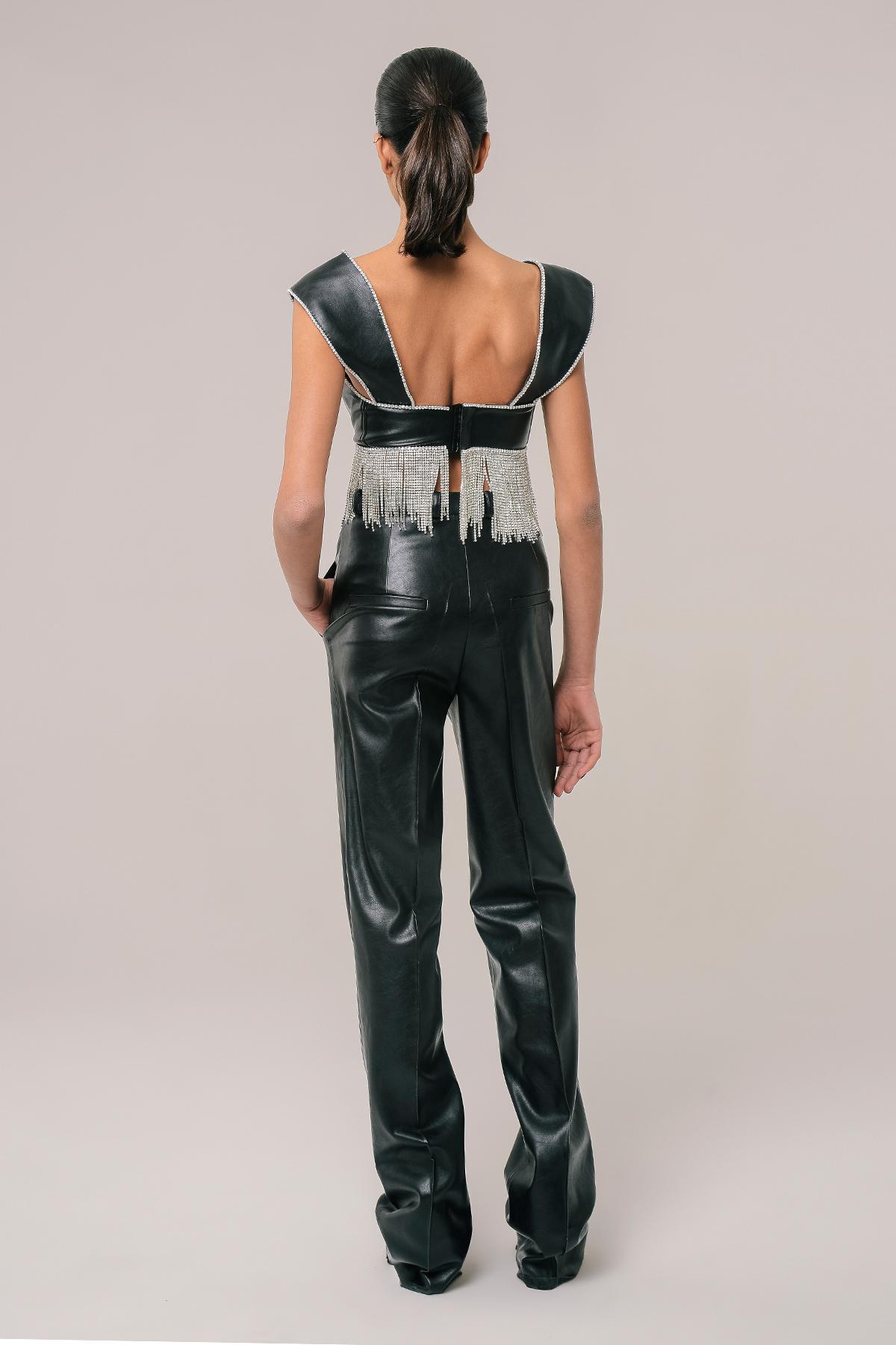Straight vegan leather pants 2