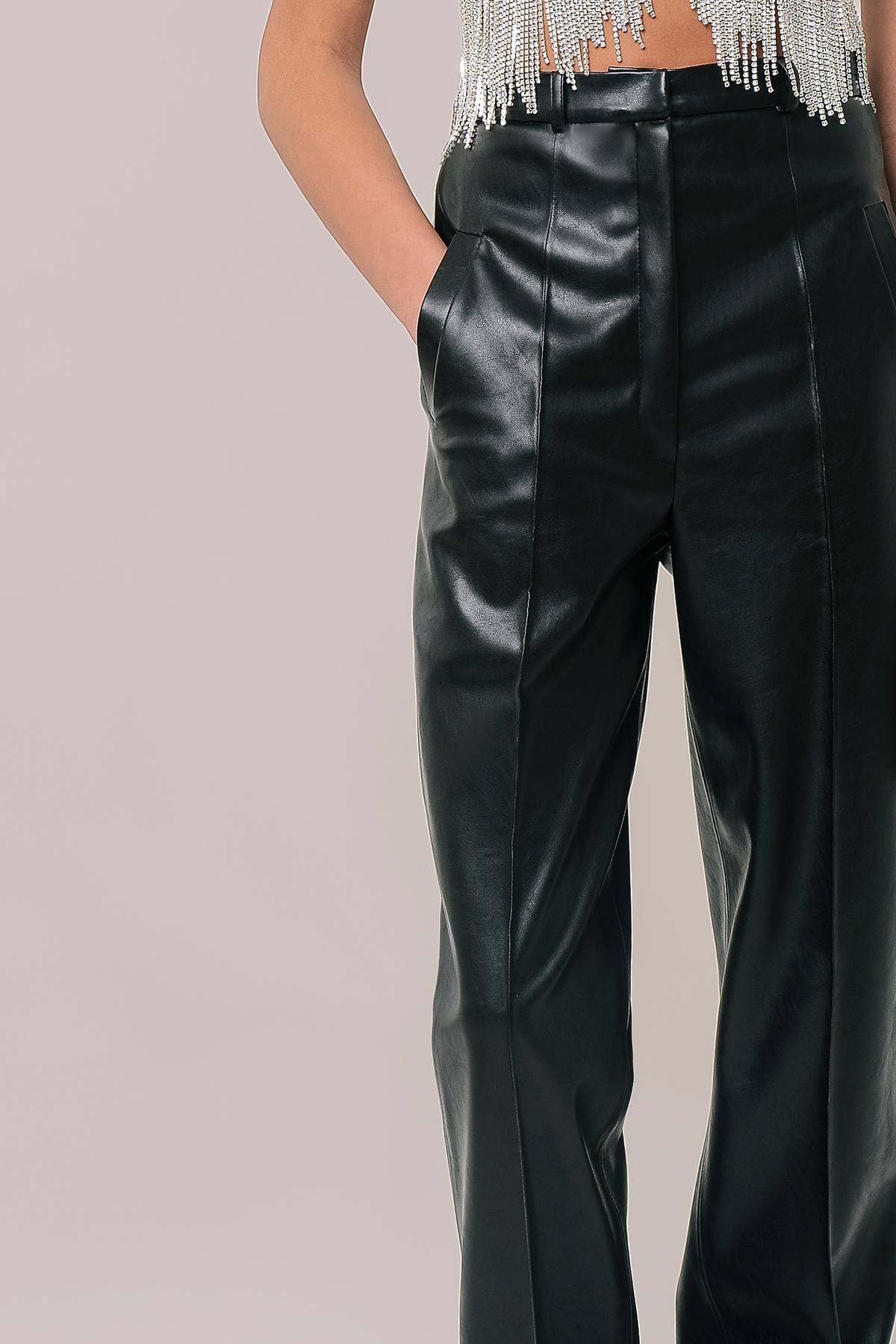 Straight vegan leather pants 3