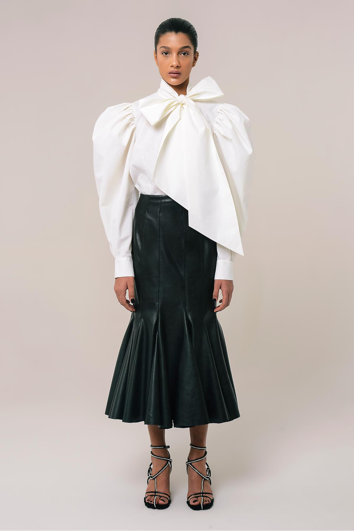 High waist vegan leather godet skirt