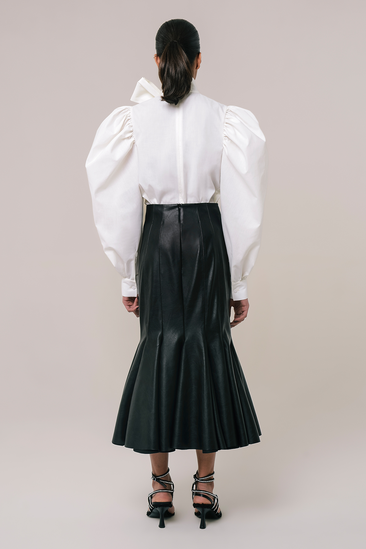 High waist vegan leather godet skirt 2