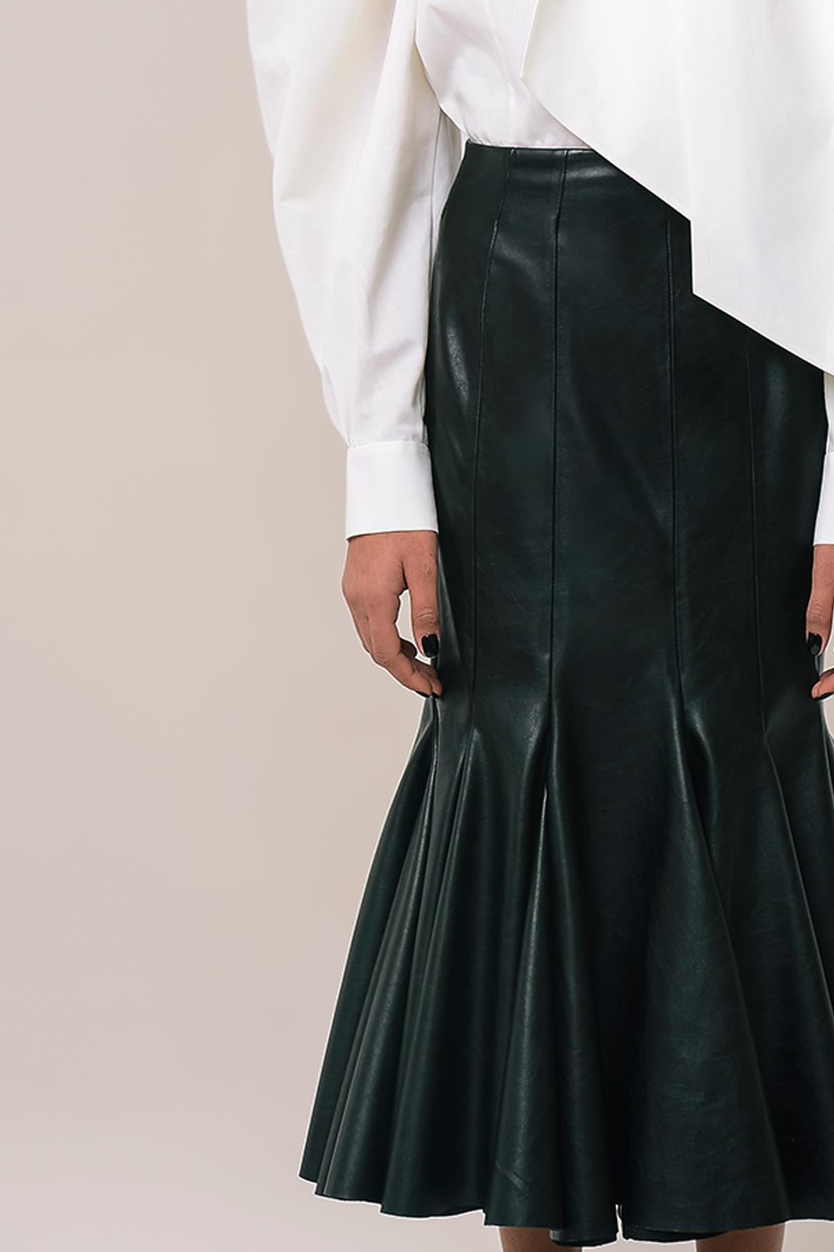 High waist vegan leather godet skirt 3