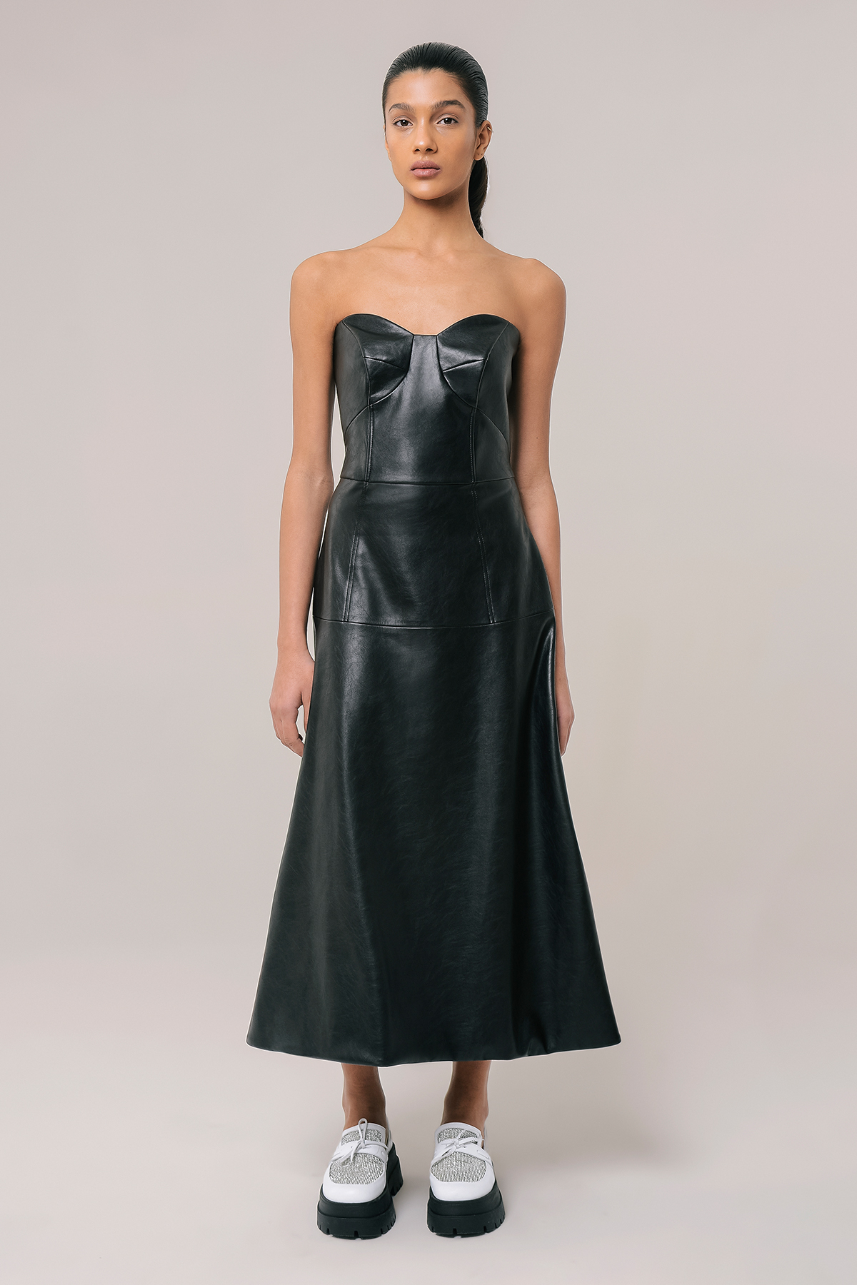 Vegan leather corset dress