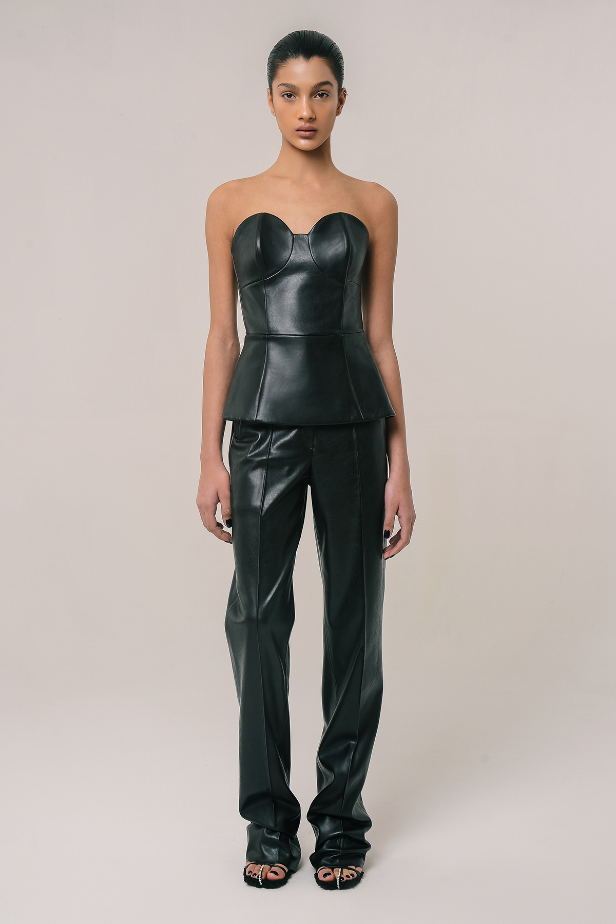 Vegan leather corset top with removable sleeves 4