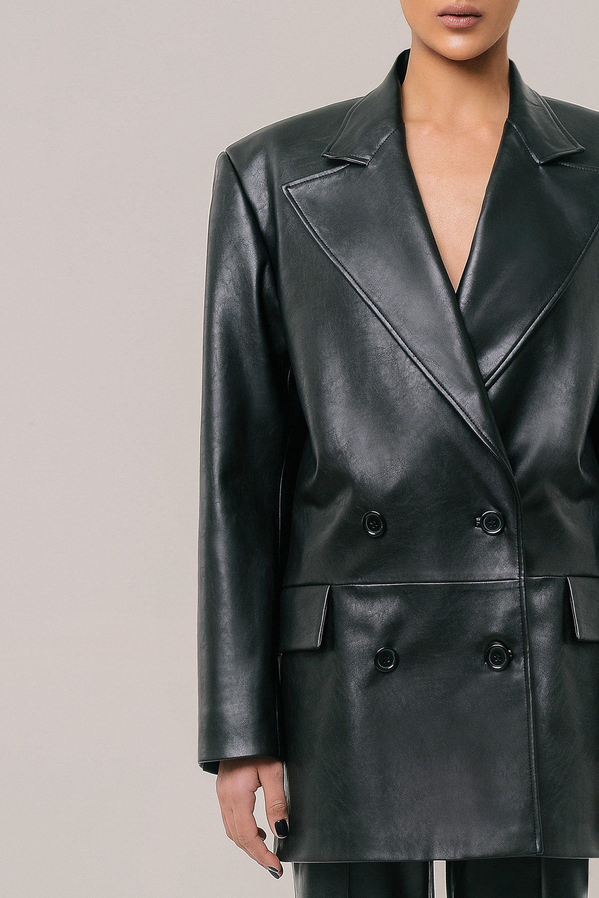 Double breasted vegan leather blazer 4