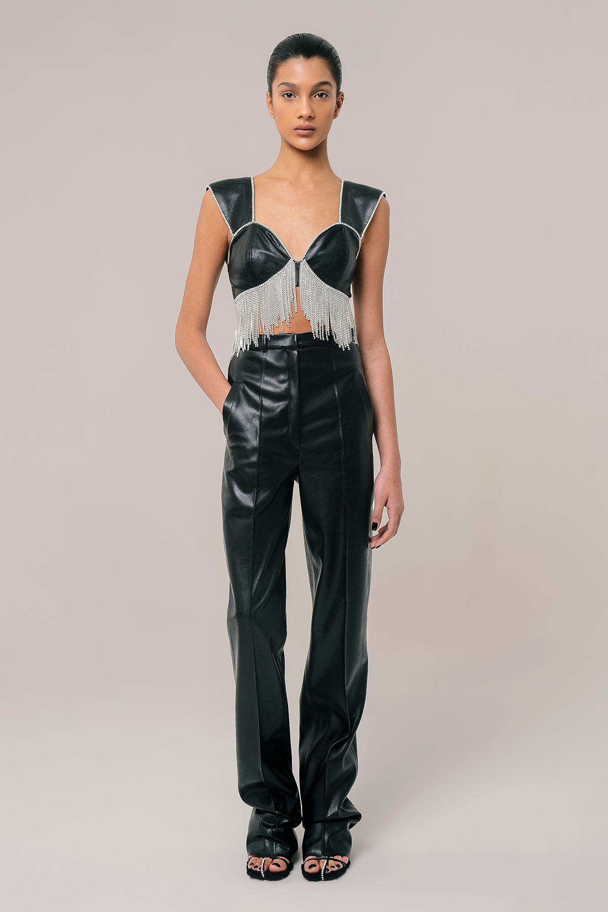 Embroidered vegan leather bra top